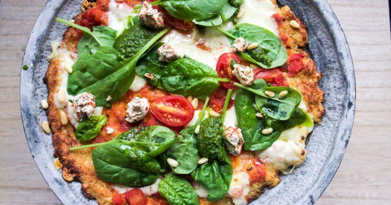 Gluten-free cauliflower pizza with pesto