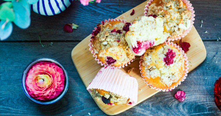 Bakery style white chocolate raspberry muffins