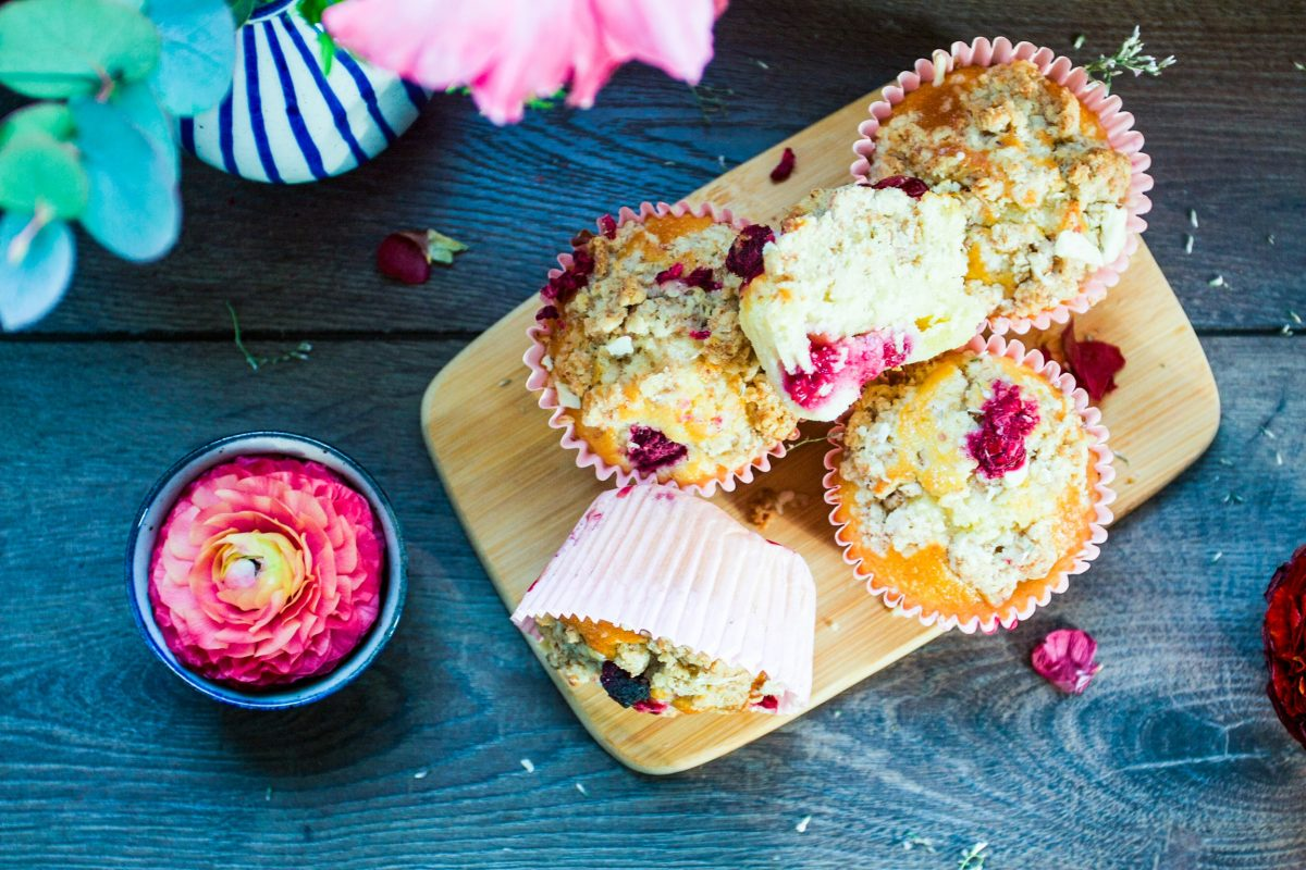 Bakery style white chocolate raspberry muffins