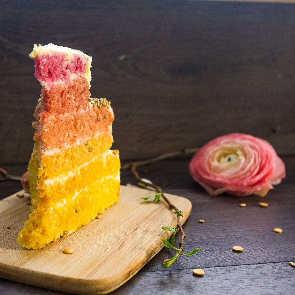 Coconut layered ombre cake