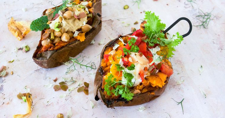 Sweet potato jacket in the oven