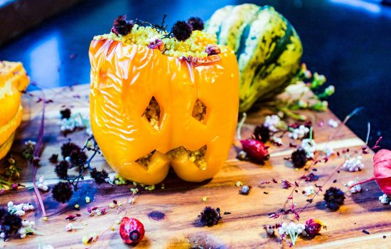 Jack O'Lantern stuffed peppers